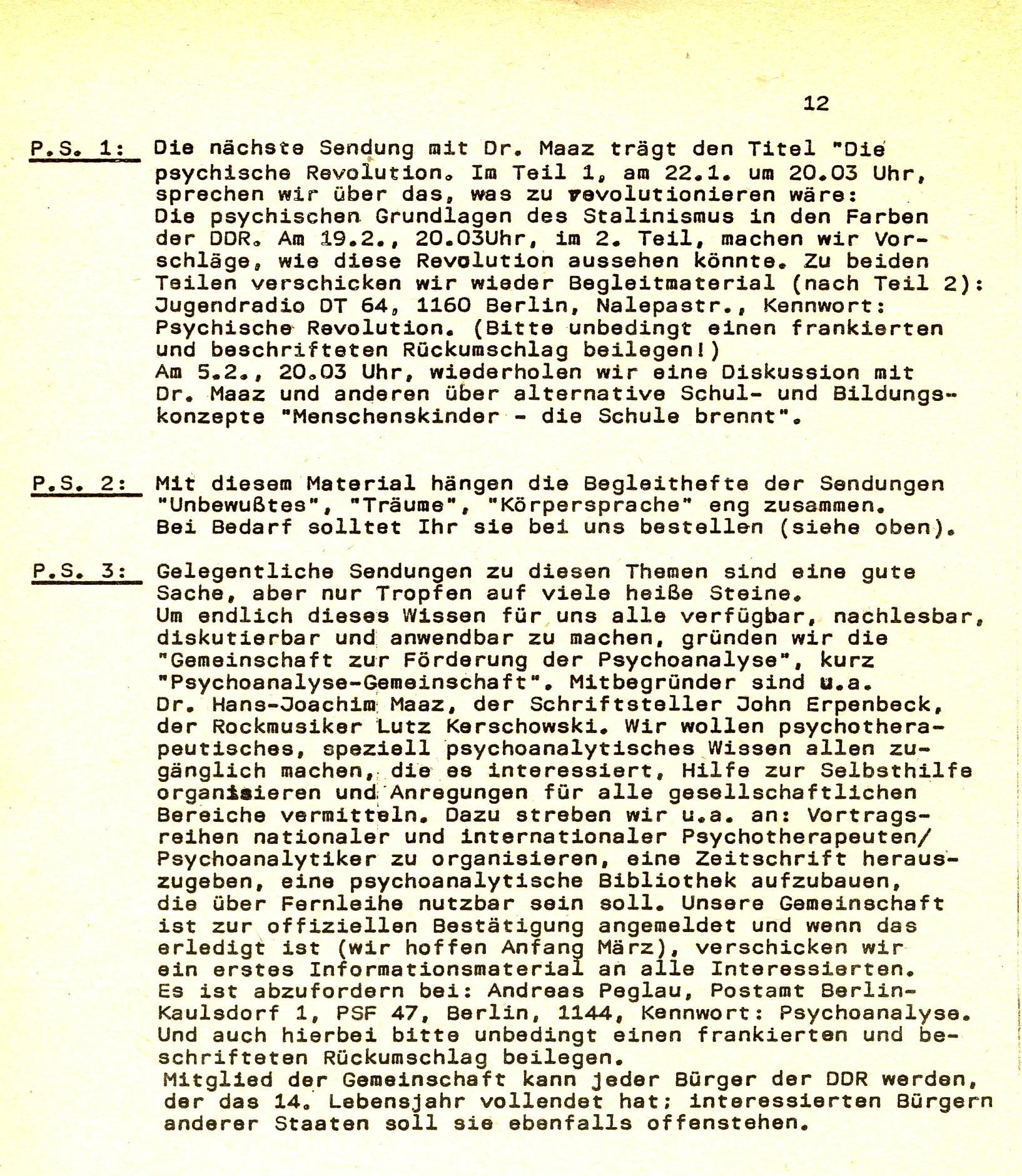 """Schriftliche Mitteilung zur Gründung der """"Gemeinschaft zur Förderung der Psychoanalyse"""" im Informationsmaterial der Sendung vom 18.12.1989."""
