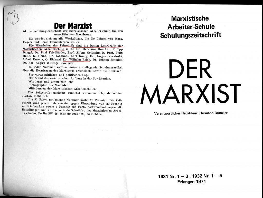 Der Marxist, Reprint 1971