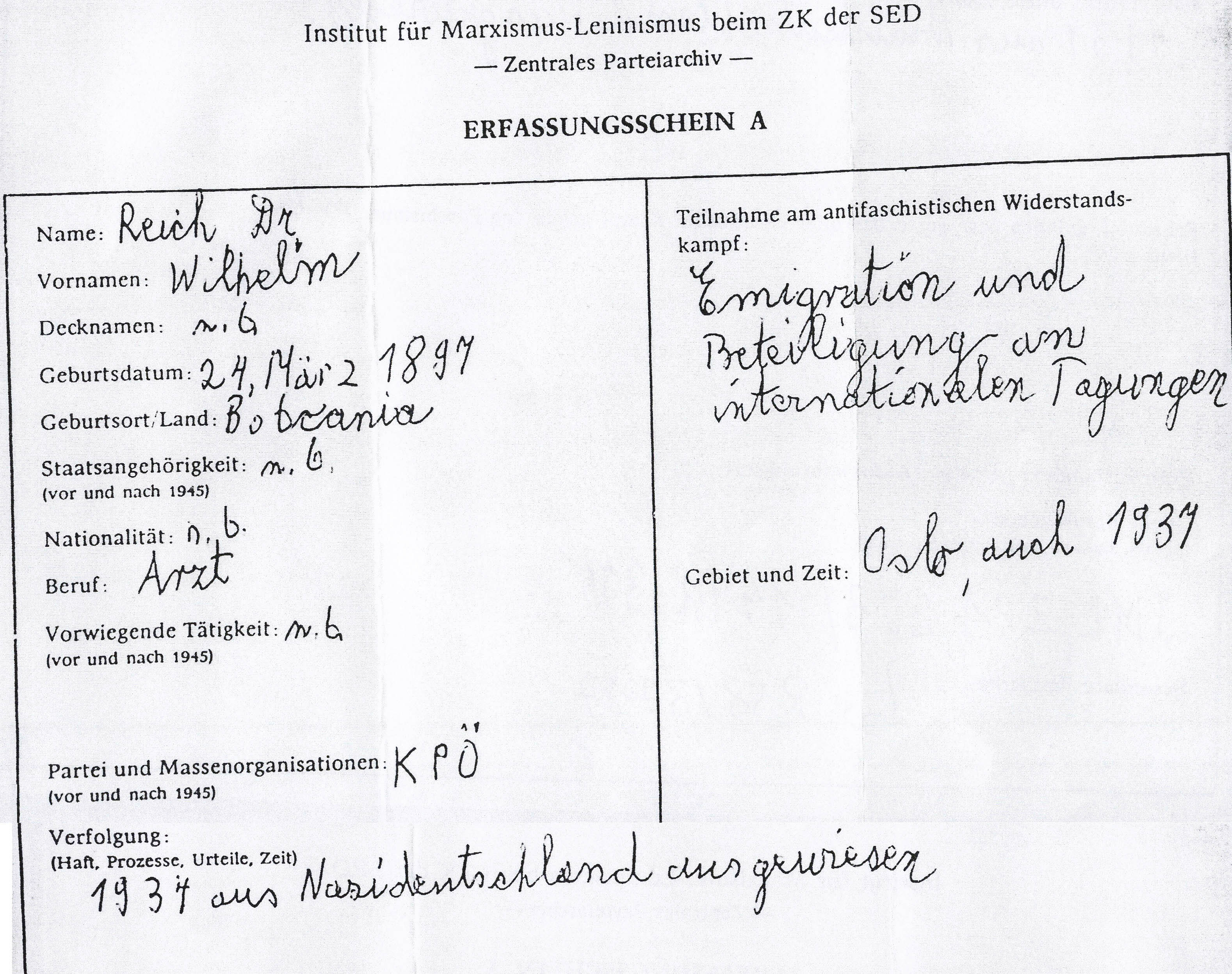 Erfassung der Ausbürgerung Reichs im SED-Archiv (Quelle: Bundesarchiv R58/3717)