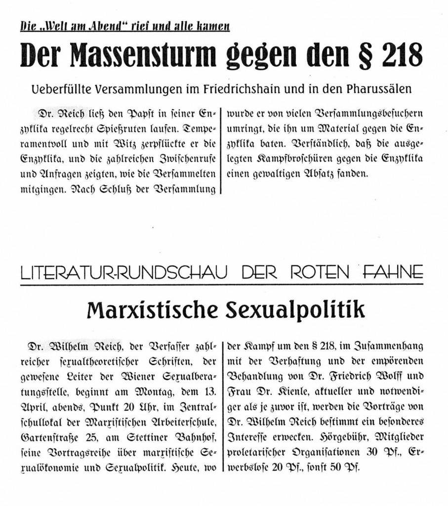 """Einige der Erwähnungen Reichs in """"linken"""" Zeitungen."""