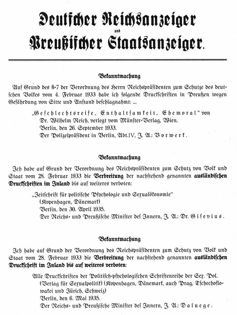 Einige der gegen Reich gerichteten Maßnahmen: Buchverbote im Reichsanzeiger eingesetzten