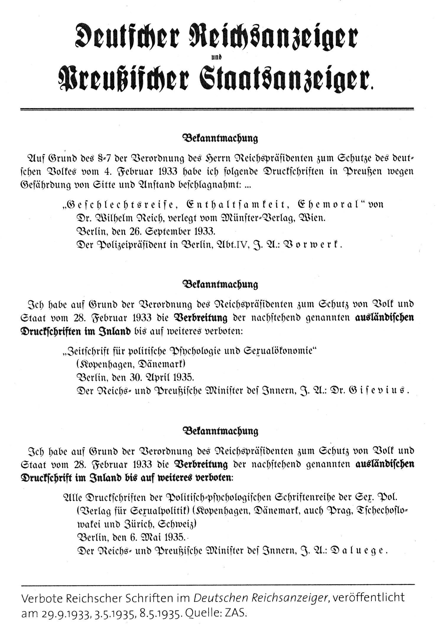"""Keine """"Liqidierung"""" Reichsanzeiger"""