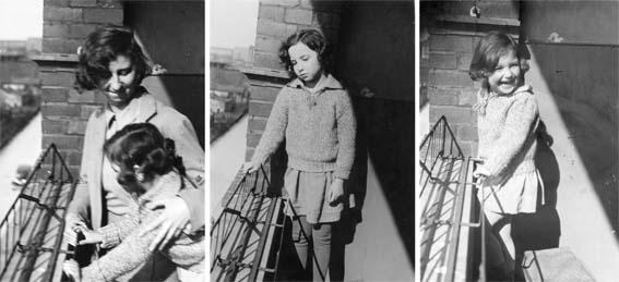 Annie Reich, Eva und Lore (von links rechts) , von Wilhelm auf dem Balkon fotografiert (mit herzlichem Dank an Lore Rubin-Reich)