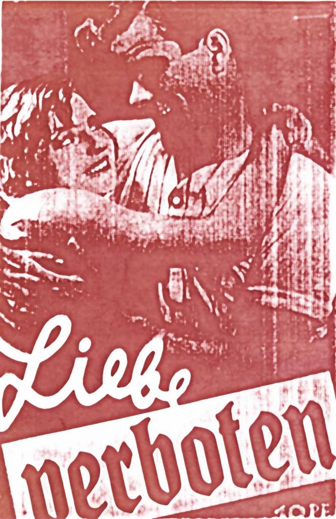 """Titelblatt von """"Liebe verboten"""" (bearbeitete Kopie, Farbe im Original nicht bekannt)."""