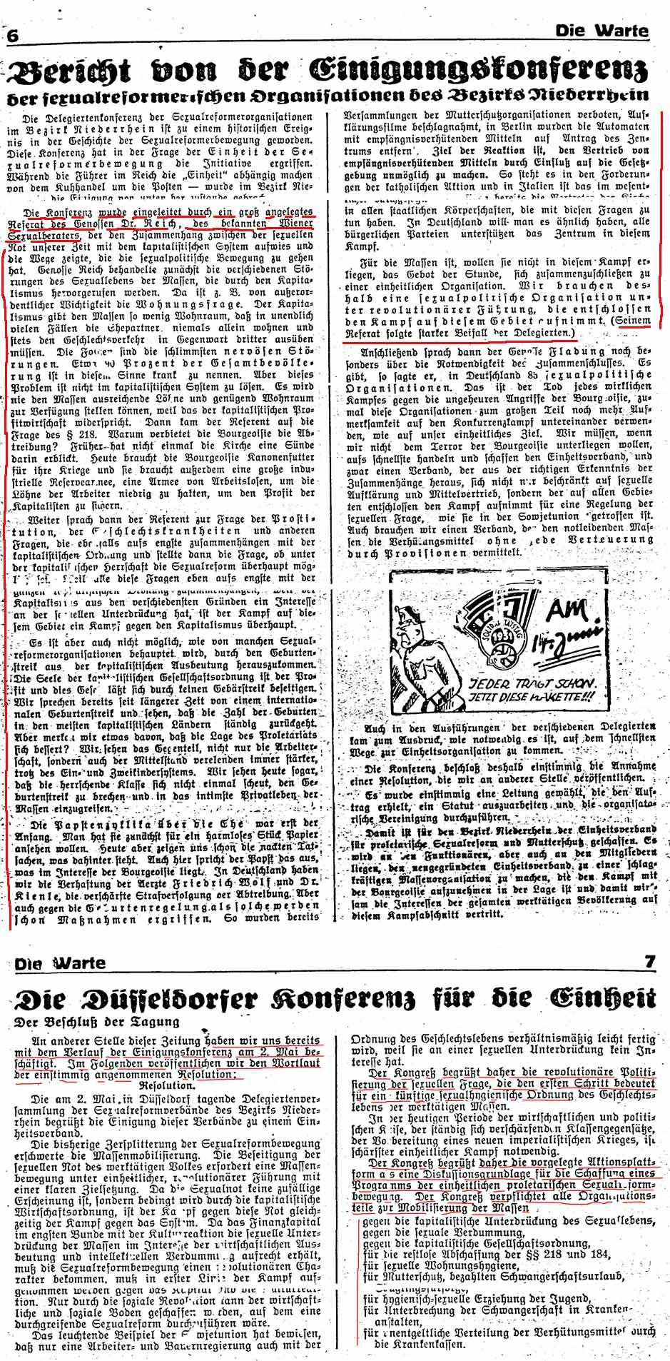 Die Warte Mai/Juni 1931, S. 6 komplett, S. 7 Ausschnitt. Sexualreform