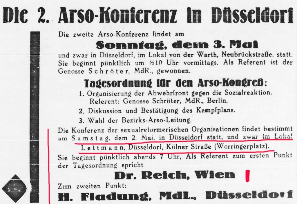 Freiheit Nr. 101 (Ausgabe Hagen), 30.4.1931, S. 12 (Quelle: Institut für Zeitungsgeschichte der Stadt Dortmund