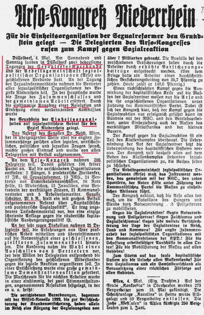 Freiheit Nr. 103 (Ausgabe Hagen), 4.5.1931, S. 2 (Quelle: Institut für Zeitungsgeschichte der Stadt Dortmund).