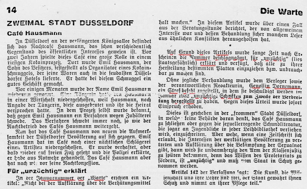 """Aus Warte 6/1932, S. 14. Unlesbare Zeile links: """"wiederum genannt. Eine Tänzerin hatte den Hausmann""""."""