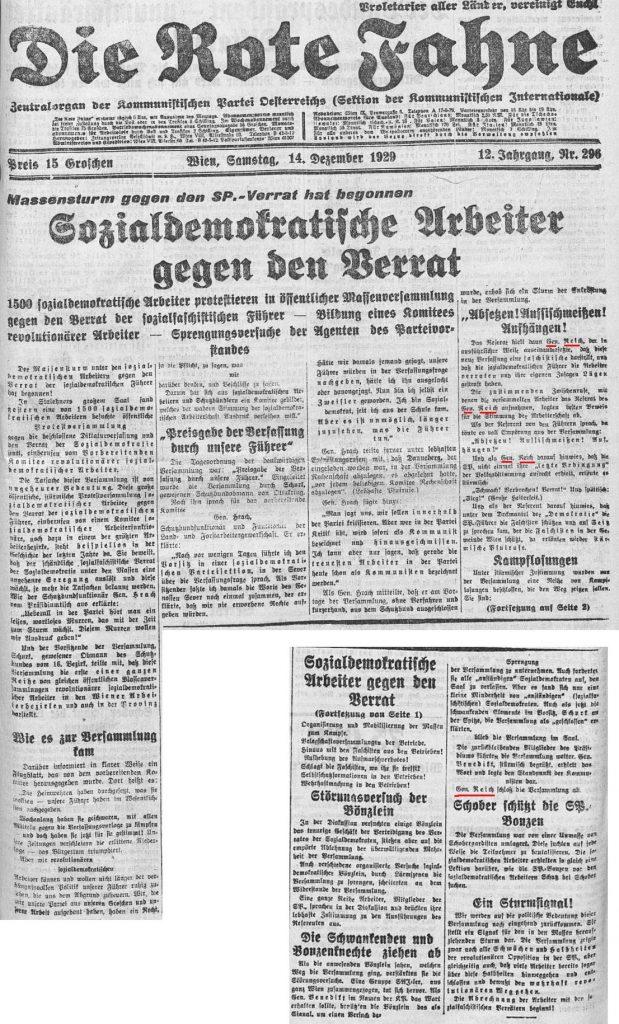 Rote Fahne Wien, 14.12.1929, S. 1 und Fortsetzung auf S. 2.