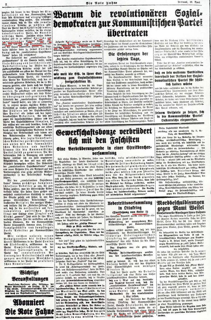 Rote Fahne (Wien), 16.4.1930, S. 1-2.