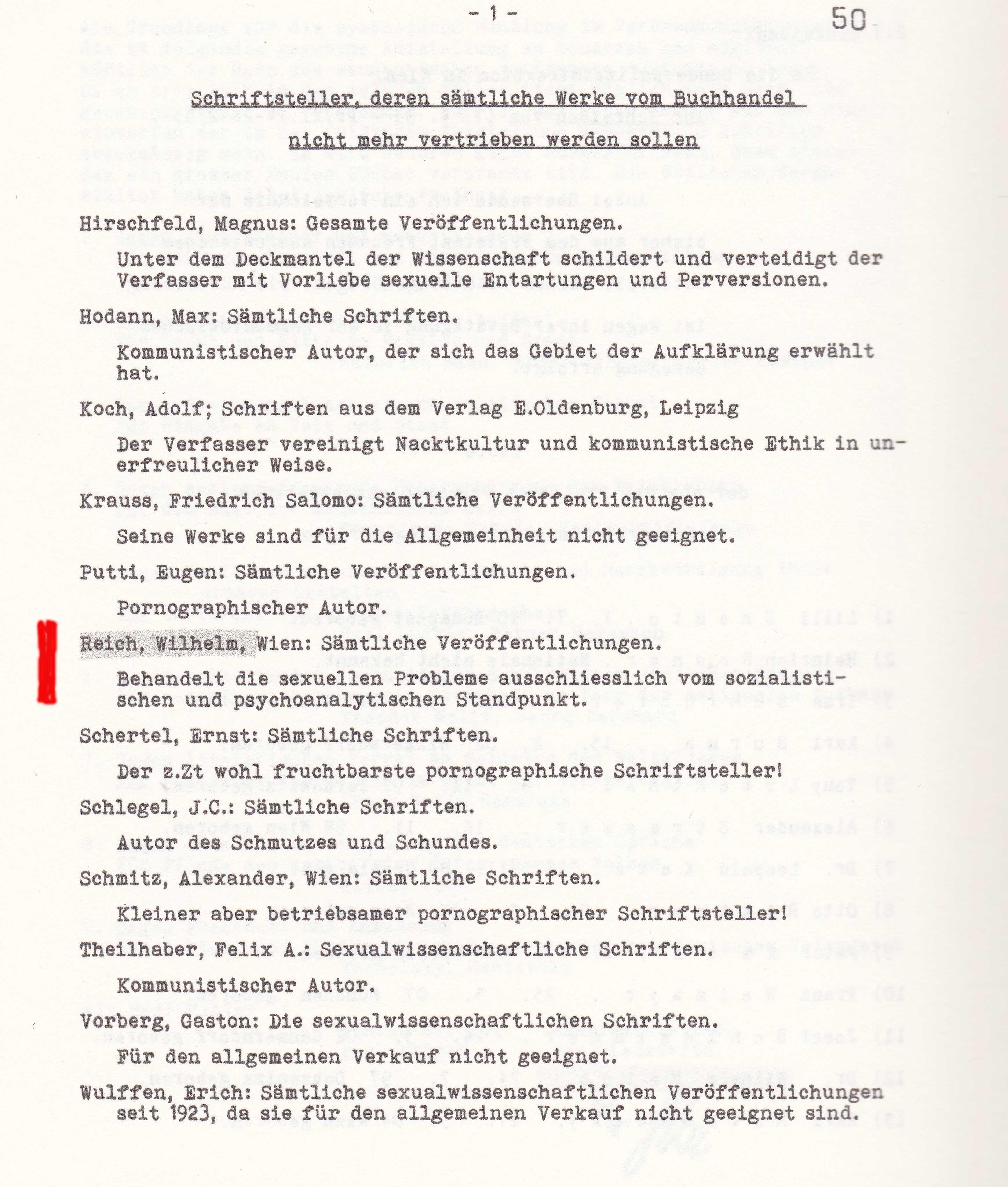 Verboteten Psychoanalyse: Wilhelm Reich