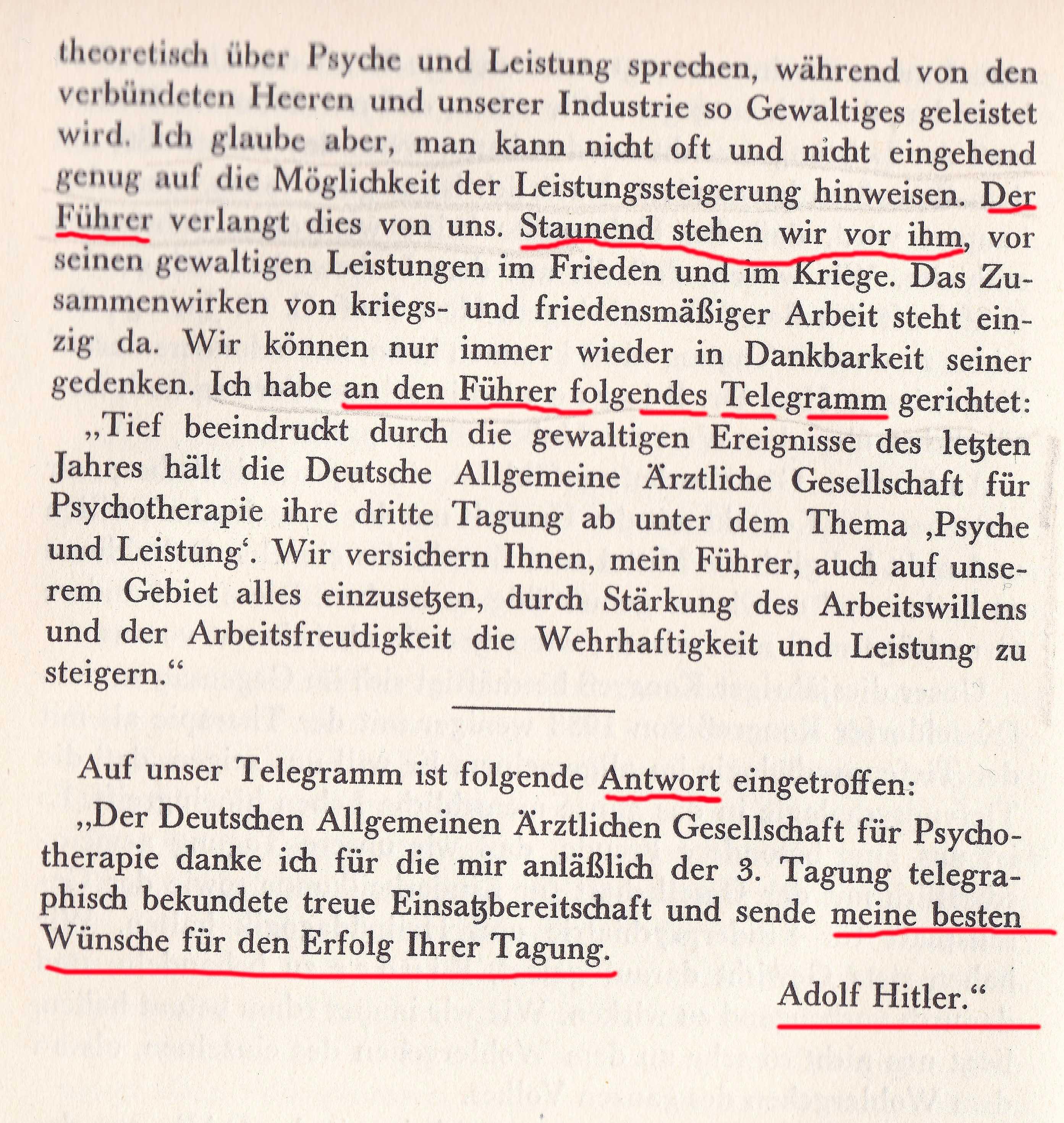 Telegramm an Hitler